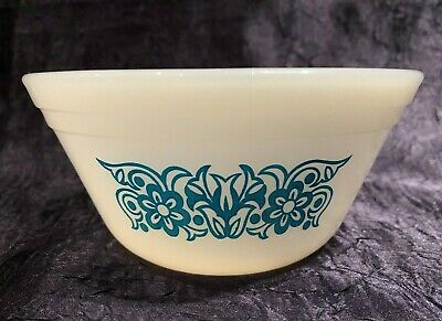 Vintage Federal Glass; 5-IN Blue-FLORAL Dual-Band NESTING Mixing-Bowl 6