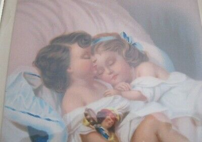 2 Vintage Victorian Color Chromolithographs Two Girls Kissing Sleeping 5