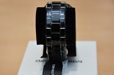 New Emporio Armani Men's Watch Ar1410 Black/Rose Gold Ceramica Chronograph 4