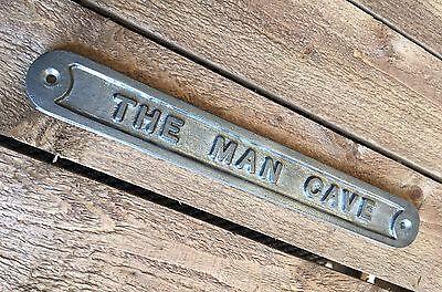 'the Man Cave' Door Sign Shed Garage Vintage Solid Cast Metal Dad Gift - 99319 2