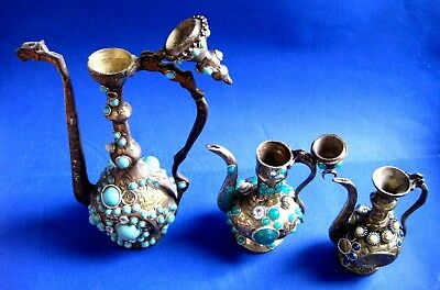 TURKISH ORNAMENTAL BRONZE & BRAS /  Kettle & PLASTIC ORNAMENTAL LOT OF 3 4