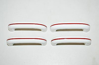 4 ART DECO RETRO  Vintage Drawer Cabinet Pull White Ceramic Red Stripe  K8 2