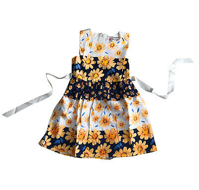 Girls Floral Dress Party Cotton Summer Sunflower Dress size 1-6 Years