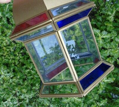 Stained Glass Leaded Copper Brass Lantern Lamp Shade Light 2 Red Blue 5