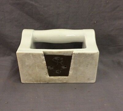 Vtg Ceramic White Porcelain Soap Dish Grab Bar Wall Mount Old Fixture 21-19D 9