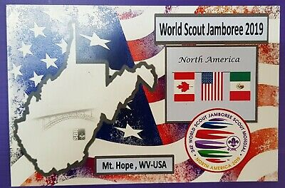 24th world scout jamboree 2019  Postmark on USPS official postcard and CHILE 2