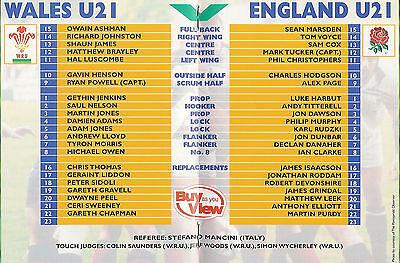 Wales v England under 21 2 Feb 2001 Pontypridd RUGBY PROGRAMME 2