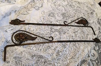 Pair Of Vintage Metal/iron Ornate Curtain Extension Brackets 4