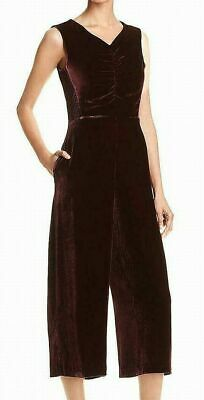 B46 Rebecca Taylor Sleeveless Velvet Ruched Bordeaux Jumpsuit Size 12 $595 NEW 2