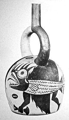 Pre-Columbian MOCHE FISH DEMON S/S VESSEL w/COA 12