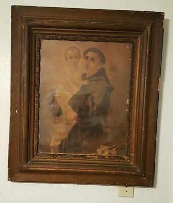 ANTIQUE Saint Anthony Padua circa 1880-90's picture.  SAN ANTONIO City's 300th