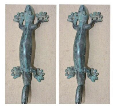 "3 small GECKO DOOR PULLS 21cm green brass PLAIN old style house handle 8.1/2"" B 3"