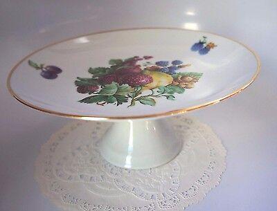 2 of 5 Vintage Naaman Israel Porcelain Pedestal Cake Plate With Fruit Theme Accent & VINTAGE NAAMAN ISRAEL Porcelain Pedestal Cake Plate With Fruit ...
