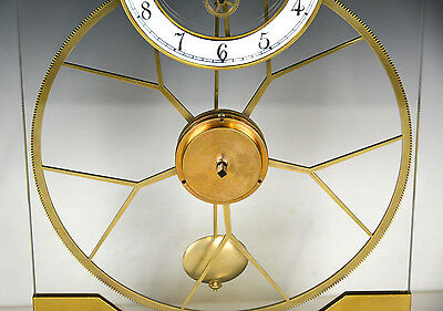 French Style Thin Glass Pinwheel Escapement Big Wheel Marble Base Skeleton Clock 8