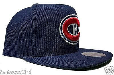 2ae90d519a9 ... Montreal Canadiens Mitchell   Ness Vintage Solid Wool Blue Snapback Hat  Cap NHL 3