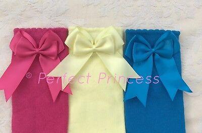 Spanish Romany Baby Girls Socks Double Bow Knee High. Great gift, school uniform