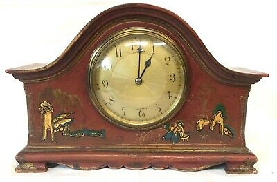 Stunning Chinoiserie Red Lacquered Mantel Bracket Clock Japanned Paint 2