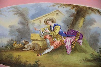 Antique French Porcelain Portrait Ormolu Cavalier King Charles Spaniel Dog Plate 4