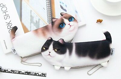 Cat Pet Fluffy Quality Toy Novelty Cute Pencil Case Cosmetic Pouch Coins Bag 6