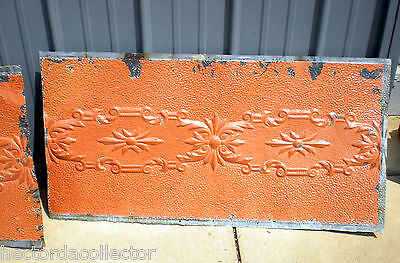 24 x 48 Antique Ceiling Tin Tile Pumpkin Cabinet Doors Shabby Chic Canvas 2