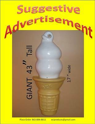 """43 inch tall 17"""" wide 1/2 Ice Cream  Soft Serve Food Sign increase your sales y"""