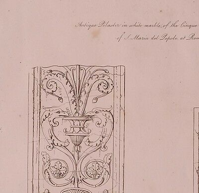 1825 Etching Print Antique Pilasters White Marble Cinque Cento Church St Martin 2