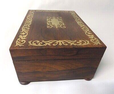 Antique Regency Rosewood Sewing Box. Brass Inlays. Original. Genuine. 4