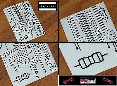 "20/"" Custom LT White Circuit Board Vinyl Decal Sticker Wall Truck Car Computer"