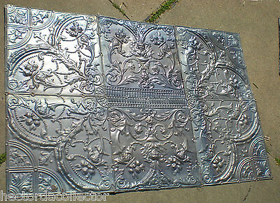 RARE 4'x 6' Antique Ceiling Tin Tile Medallion Torches Flower Gothic Face Chic 4