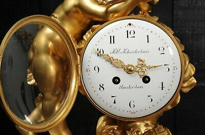 Superb Antique French Ormolu And White Marble Clock - Cupid 9