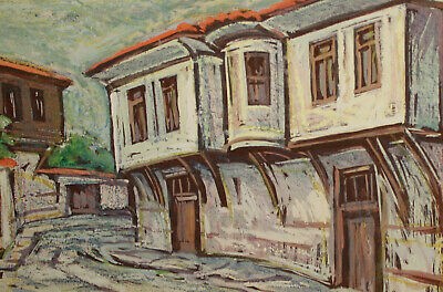 Vintage impressionist pastel painting cityscape village 5