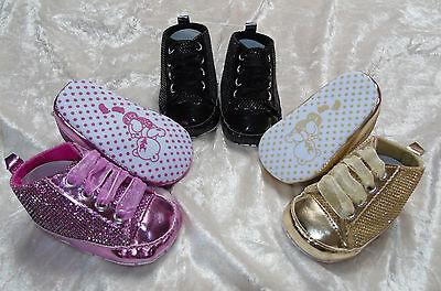Babyschuhe Schuhe Turnschuhe Baby Glitzer schwarz gold rosa 6-9 12-15Mon.