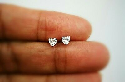 3/4 Ct Diamond Stud Earrings Heart shape Diamond Womens Earrings14K White Gold 2