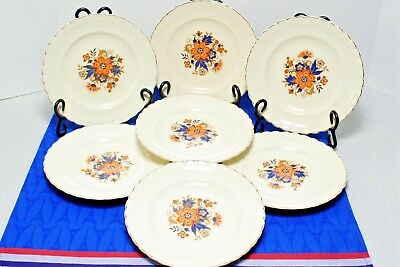 "7 J&G Meakin SOL Luncheon Plates Orange flower blue leaves scalloped gold 8"" VGC 2"