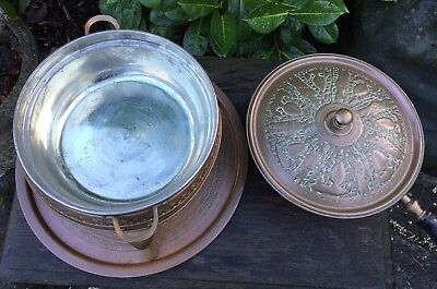 Old Vintage Middle Eastern Persian Islamic Darius Tin Lined Copper Cooking Set 7