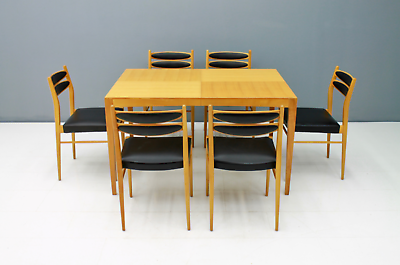 60er Years Dining Area Table & 6 Chairs Cherry & Leather Table Dining Room 60s 5
