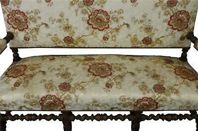 Settee Renaissance Hunting French Antique 1880 Carved Oak  Floral Uph 4