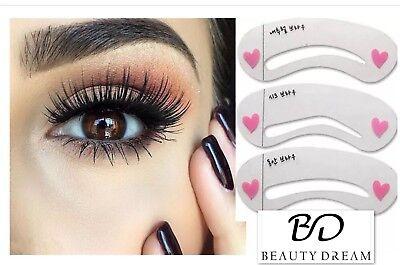 💙6 Eyebrow Stencils Shaper Grooming Kit Brow MakeUp Template Tool Reusable💙