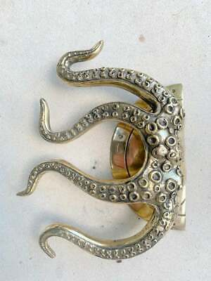 """pair OCTOPUS Solid 100% Brass hand POLISHED Door PULL HANDLE 9"""" high aged B 9"""