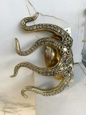 """pair OCTOPUS Solid 100% Brass hand POLISHED Door PULL HANDLE 9"""" high aged B 5"""