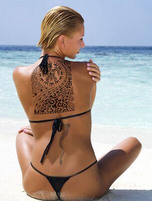 Temporary Tattoo Tribal Maori Polynesian Turtle Black Shoulder Arm Mens Womens 4