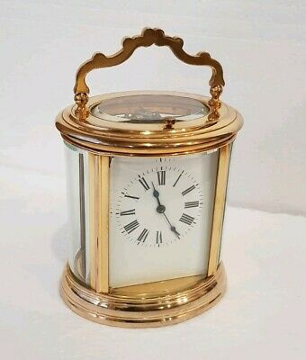 Large Oval Case Ormolu Repeat Strike 4 Glass Carriage Clock 3