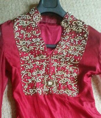 Deep red / Burgundy Silk  Heavy Jewelled Diamante work long kameez/pajama suit 8