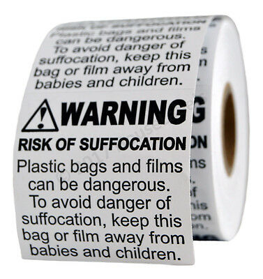 10 Rolls ; 500 Labels 2 x 2 Suffocation Warning FBA approved Labels/Stickers