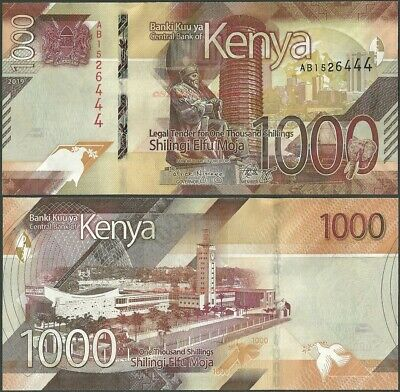 Kenya 50,100,200,500,1000 Shillings 5x New Banknotes Issue 2019 UNC
