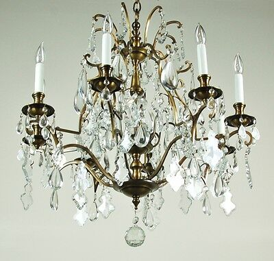 Magnificent Vintage French Style Crystal Pendalogue Tear Drop Prism Chandelier 4