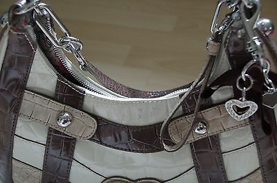 GUESS Tasche groß braun Lackleder Top Zustand Kroko Optik