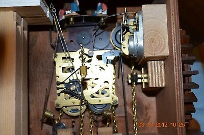 8 day Cuckoo Clock with music and Wooden Weights WORKING  AND SERVICED set of 1 6