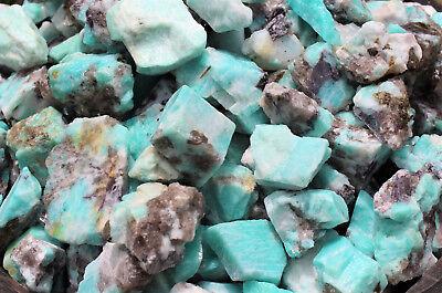 2000 Carat Lot Bulk Natural Rough Amazonite Crystal Healing Raw (400 Grams) 3