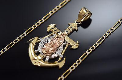 New Virgen Ancla Medalla Oro Real 14k Virgin Anchor Pendant Religious Lady Charm